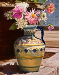 Dahlias in a Spanish Vase