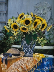 Straw Hat and Sunflowers